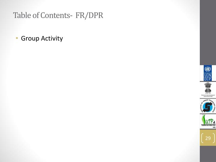 Table of Contents-  FR/DPR