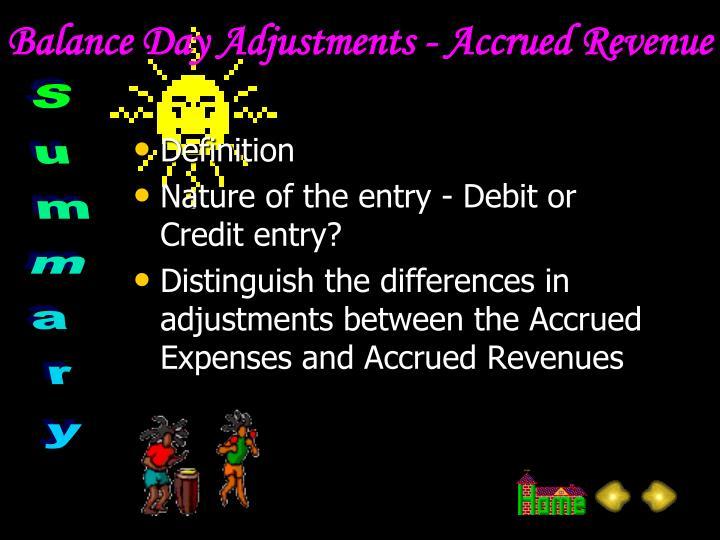 Balance Day Adjustments - Accrued Revenue