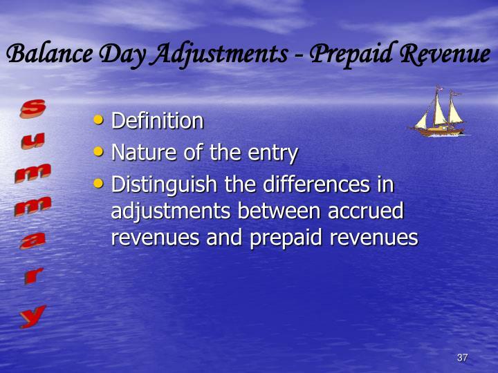 Balance Day Adjustments - Prepaid Revenue