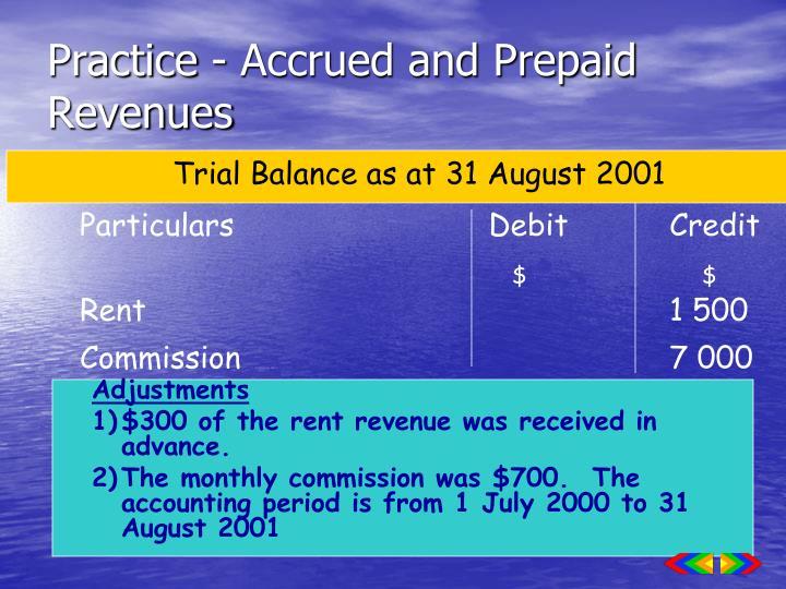 Practice - Accrued and Prepaid Revenues