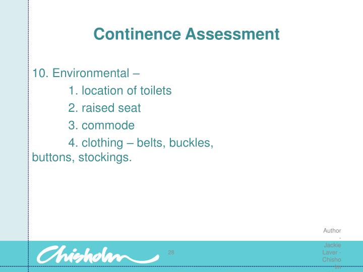 Continence Assessment