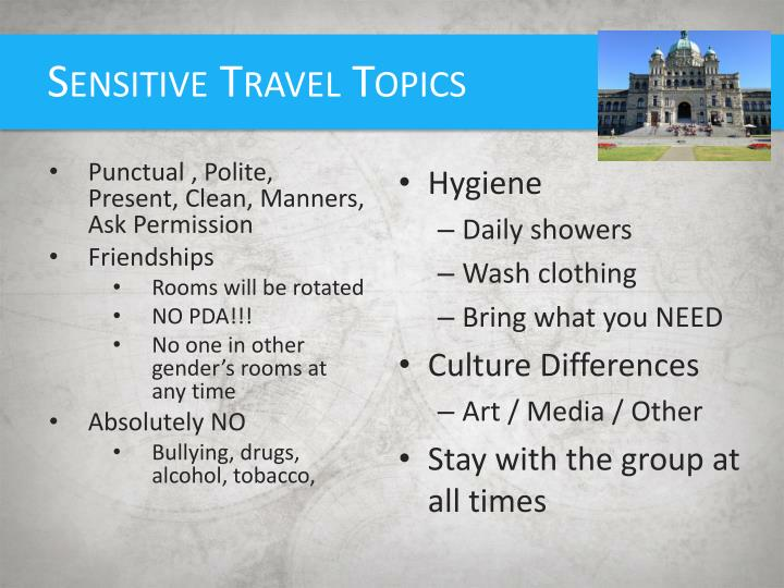 Sensitive Travel Topics