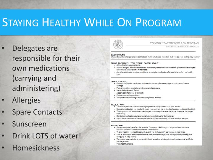 Staying Healthy While On Program