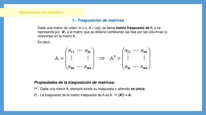 Operaciones con matrices I