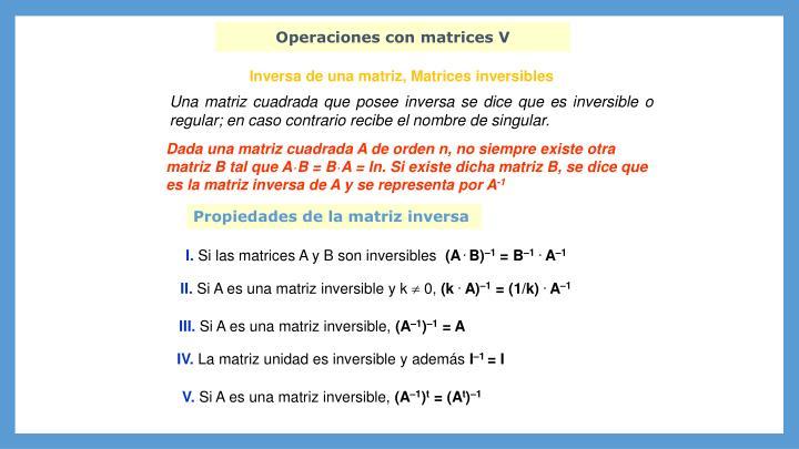 Operaciones con matrices V