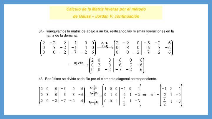 Cálculo de la Matriz Inversa por el método