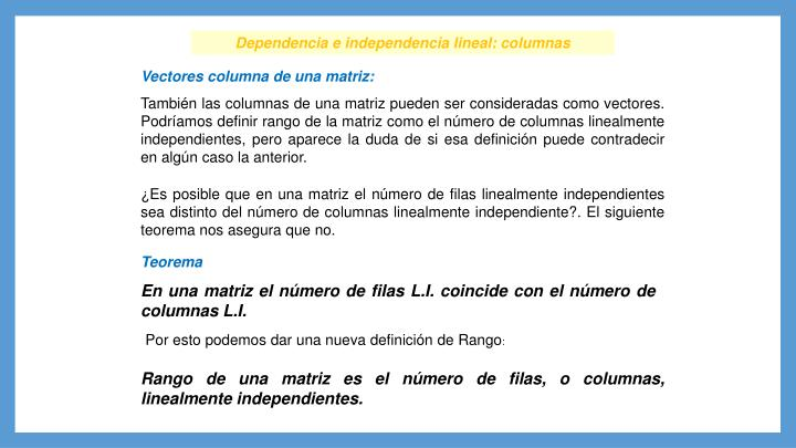 Dependencia e independencia lineal: columnas
