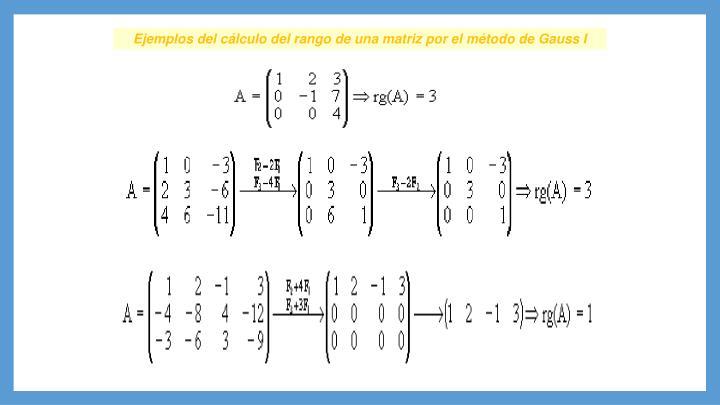 Ejemplos del cálculo del rango de una matriz por el método de Gauss I