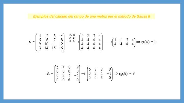 Ejemplos del cálculo del rango de una matriz por el método de Gauss II