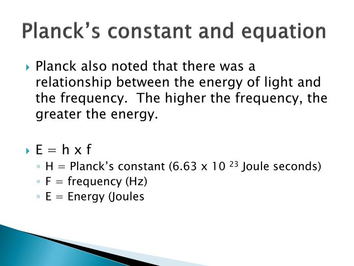 Planck's constant and equation