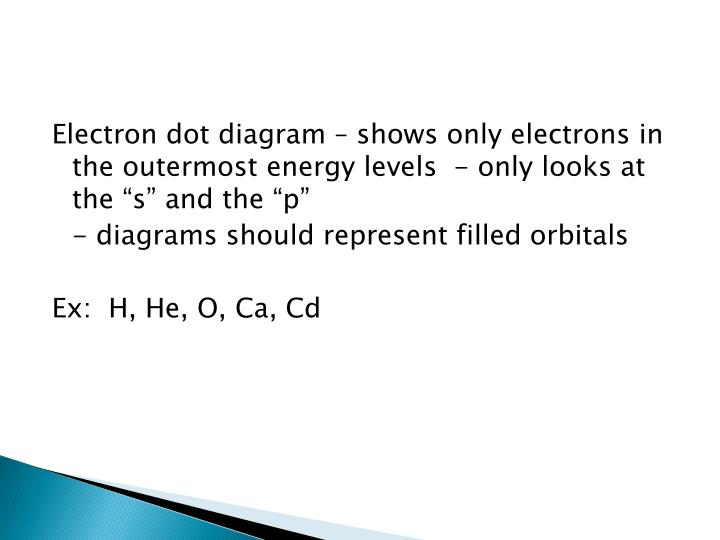"Electron dot diagram – shows only electrons in the outermost energy levels  - only looks at the ""s"" and the ""p"""
