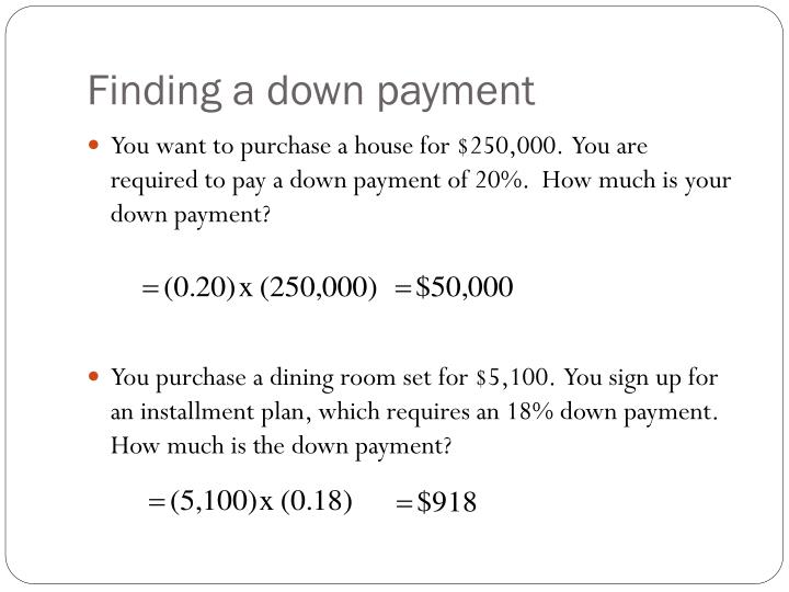 Finding a down payment