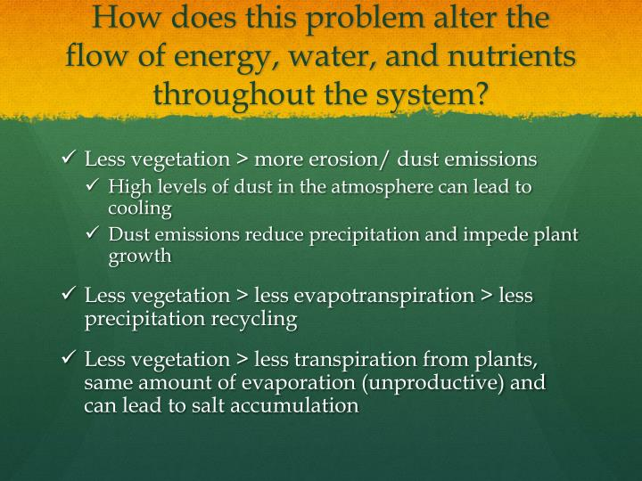 How does this problem alter the flow of energy, water, and nutrients throughout the system?