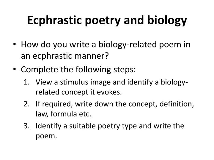 Ecphrastic poetry and biology