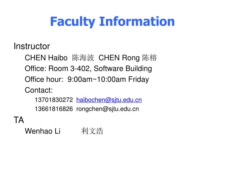 Faculty Information