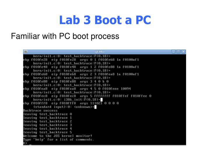 Lab 3 Boot a PC