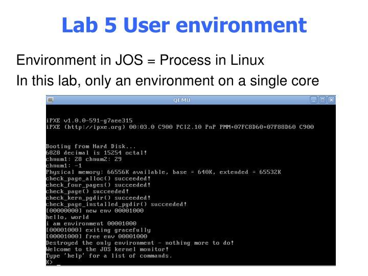 Lab 5 User environment