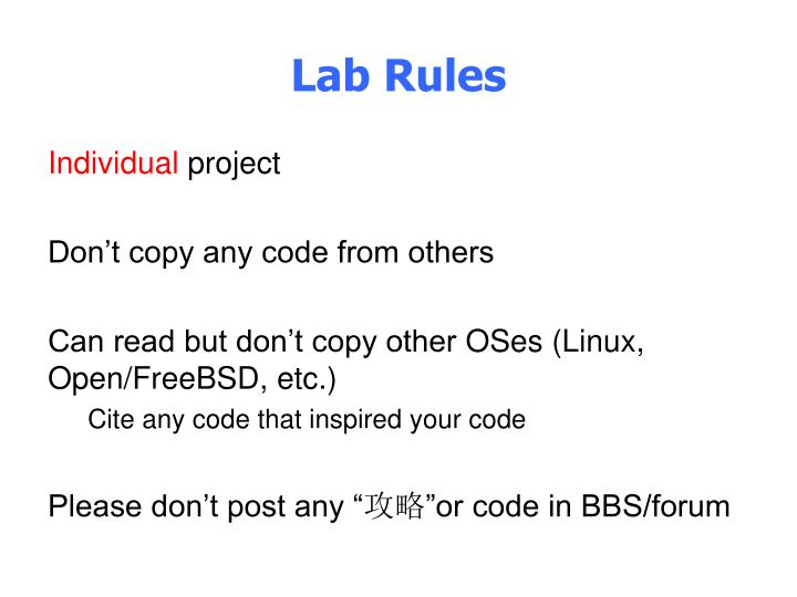 Lab Rules