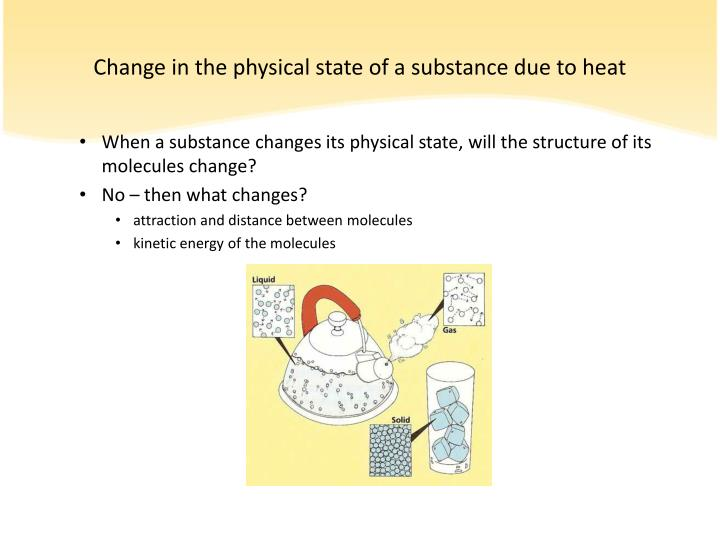 Change in the physical state of a substance due to heat