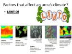 factors that affect an area s climate