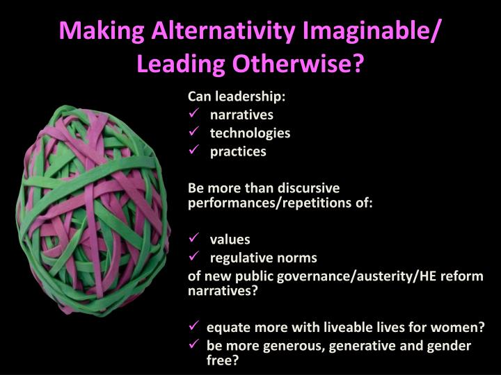 Making Alternativity Imaginable/