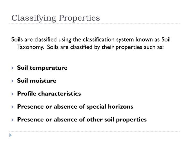 Classifying Properties