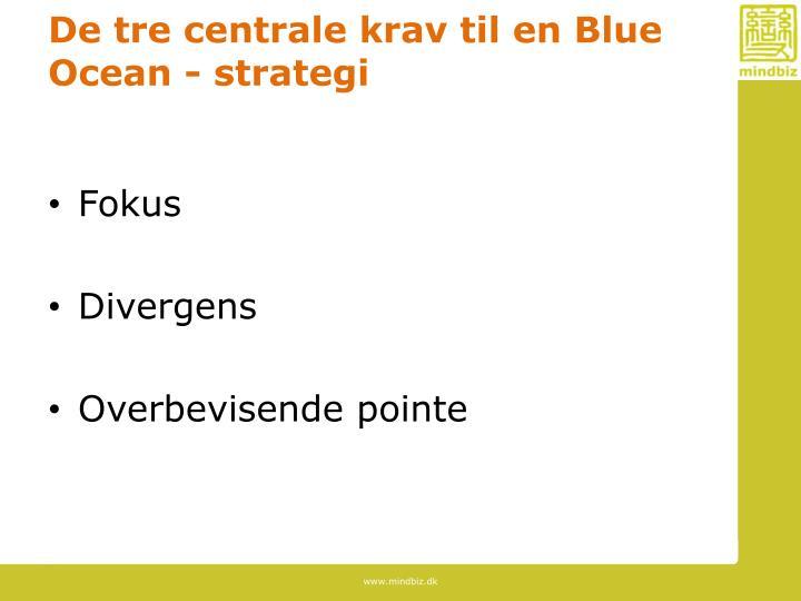 De tre centrale krav til en Blue Ocean - strategi
