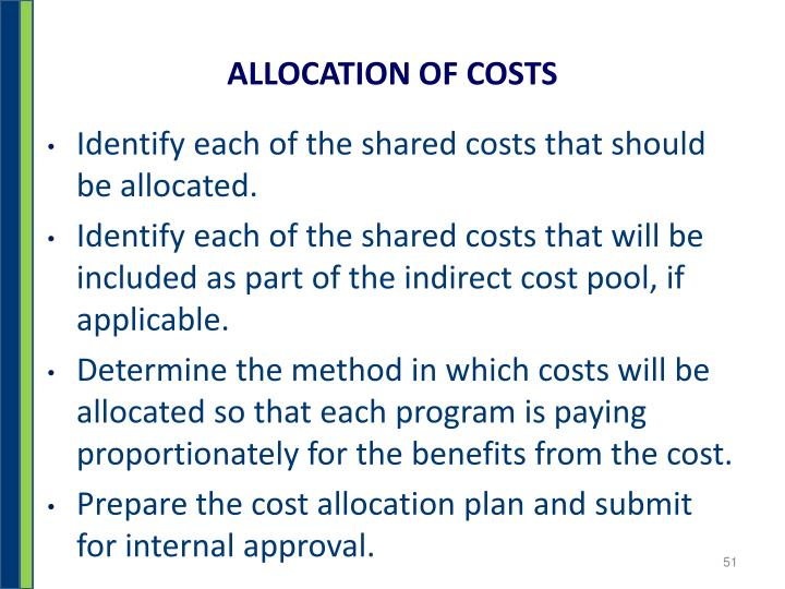 ALLOCATION OF COSTS