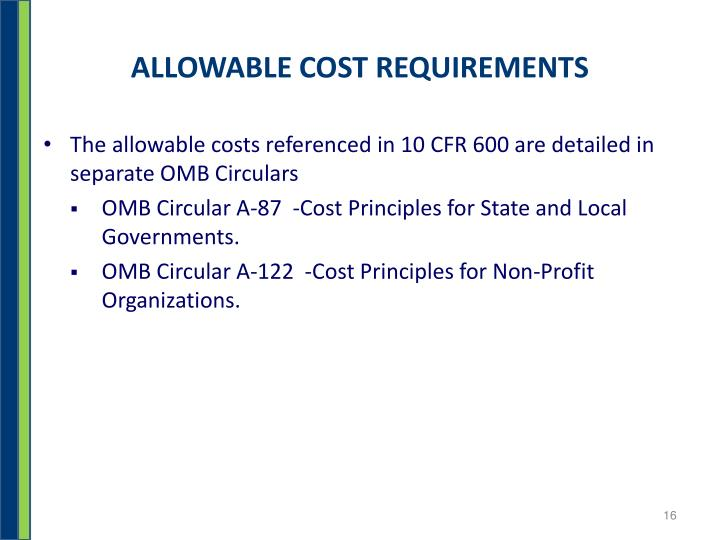 ALLOWABLE COST REQUIREMENTS