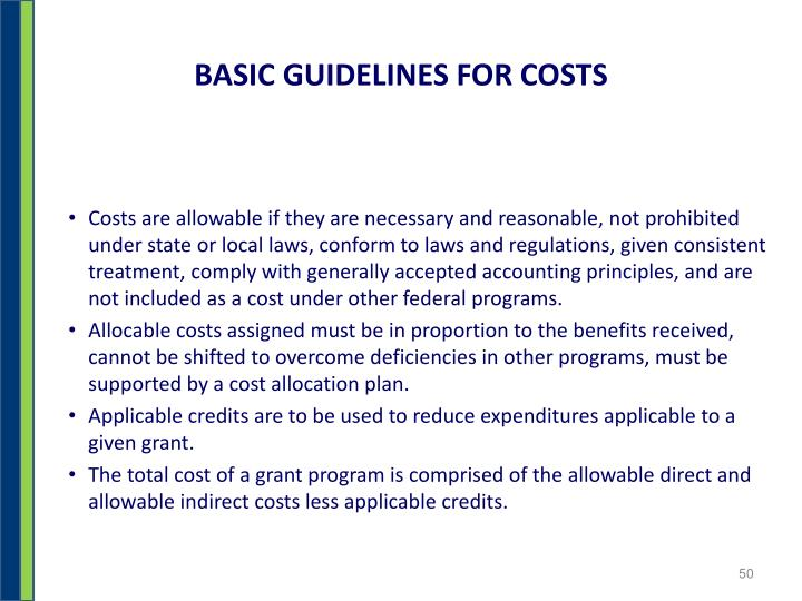 BASIC GUIDELINES FOR COSTS