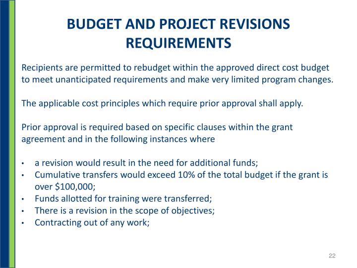 BUDGET AND PROJECT REVISIONS REQUIREMENTS