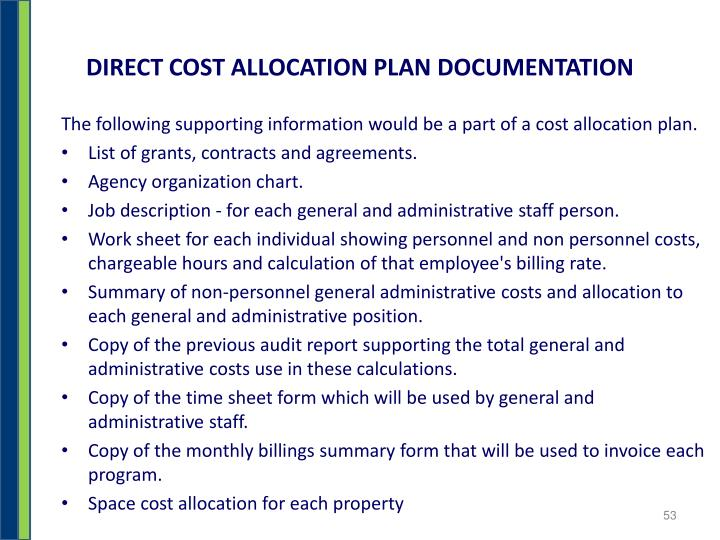 DIRECT COST ALLOCATION PLAN DOCUMENTATION
