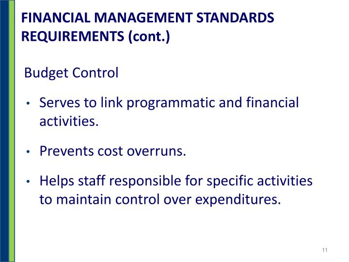 FINANCIAL MANAGEMENT STANDARDS