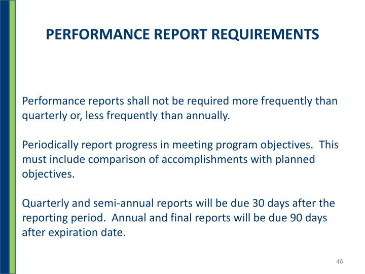 PERFORMANCE REPORT REQUIREMENTS