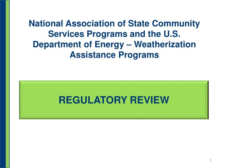 National Association of State Community Services Programs and the U.S. Department of Energy – Weat...