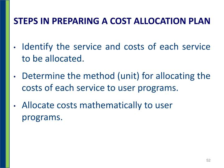 STEPS IN PREPARING A COST ALLOCATION PLAN
