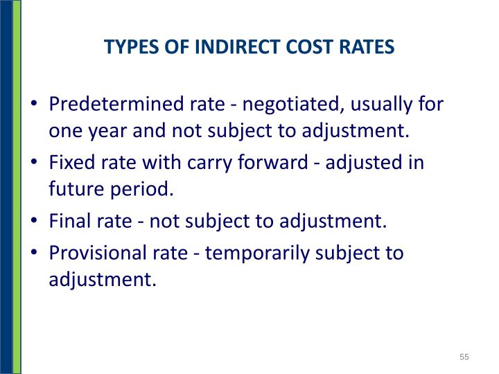 TYPES OF INDIRECT COST RATES
