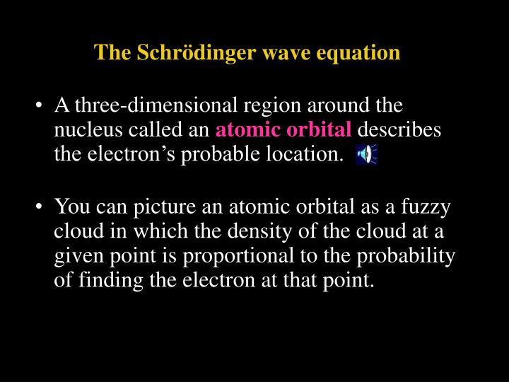 The Schrödinger wave equation