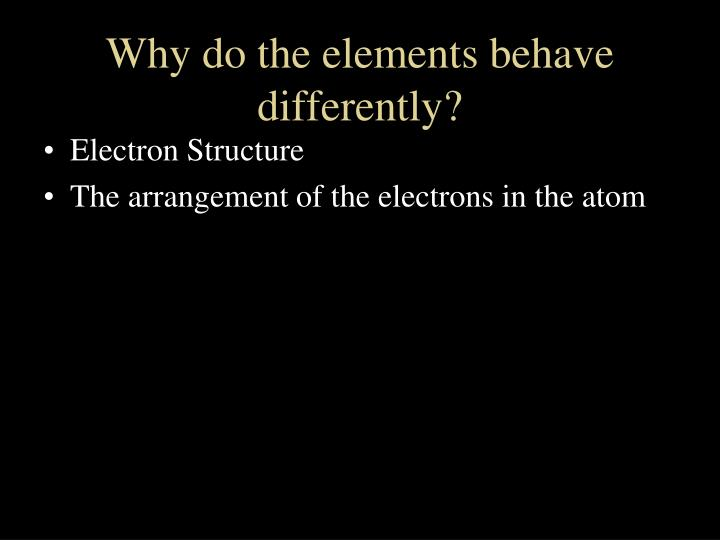 Why do the elements behave differently?