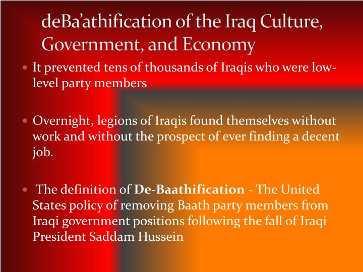 It prevented tens of thousands of Iraqis who were low-level party members
