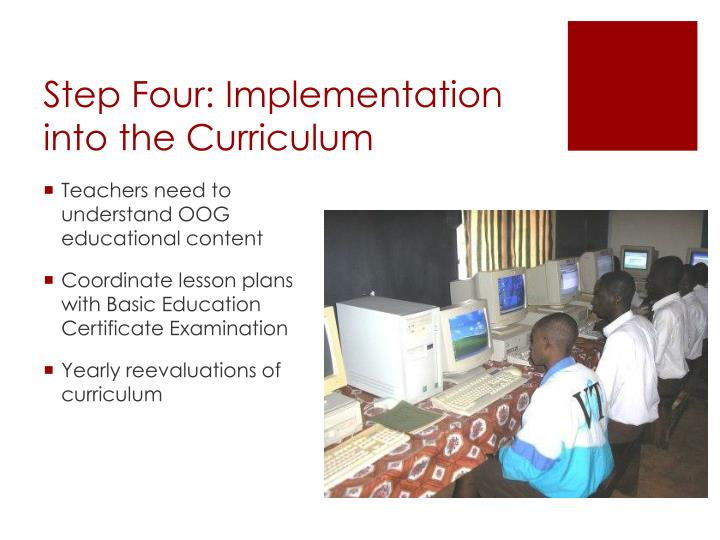 Step Four: Implementation into the Curriculum