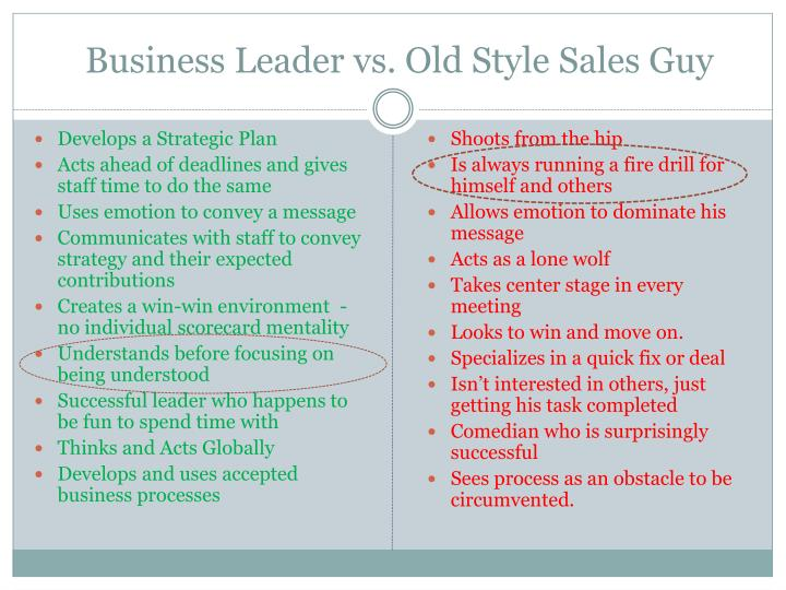 Business leader vs old style sales guy