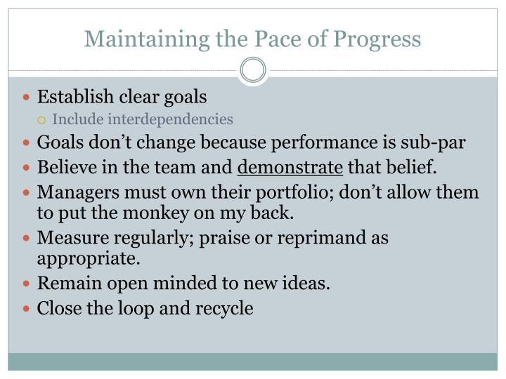 Maintaining the Pace of Progress