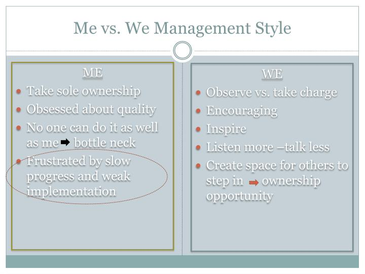 Me vs. We Management Style