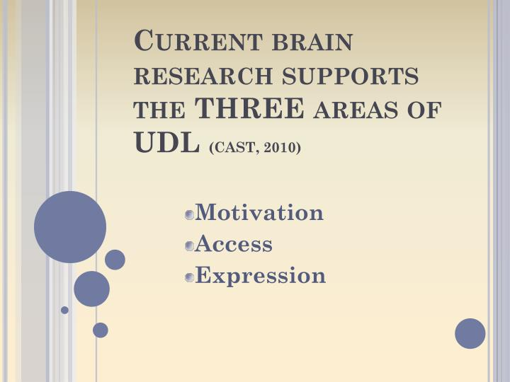 Current brain research supports the THREE areas of UDL
