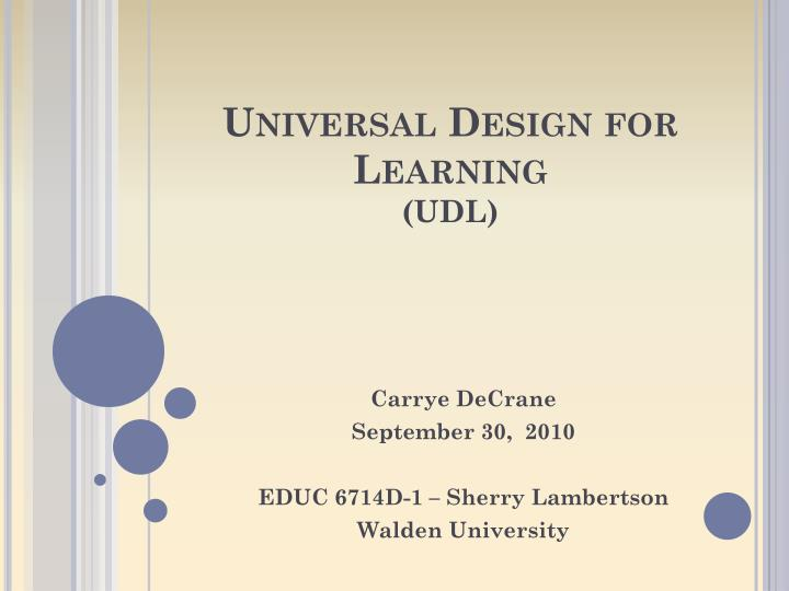 Universal design for learning udl