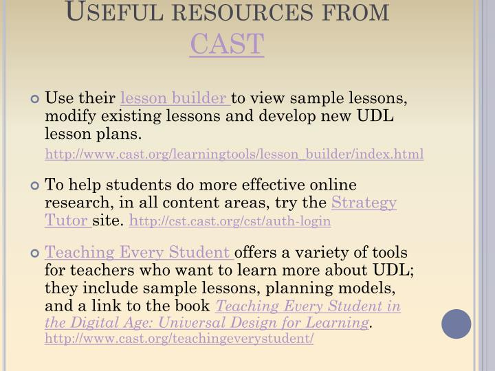 Useful resources from