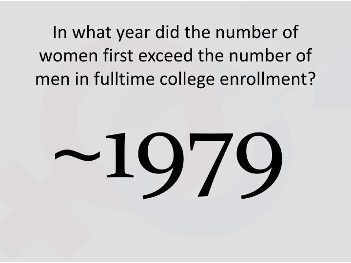 In what year did the number of women first exceed the number of men in fulltime college enrollment