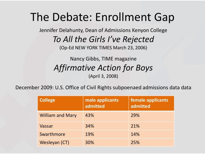 The Debate: Enrollment Gap