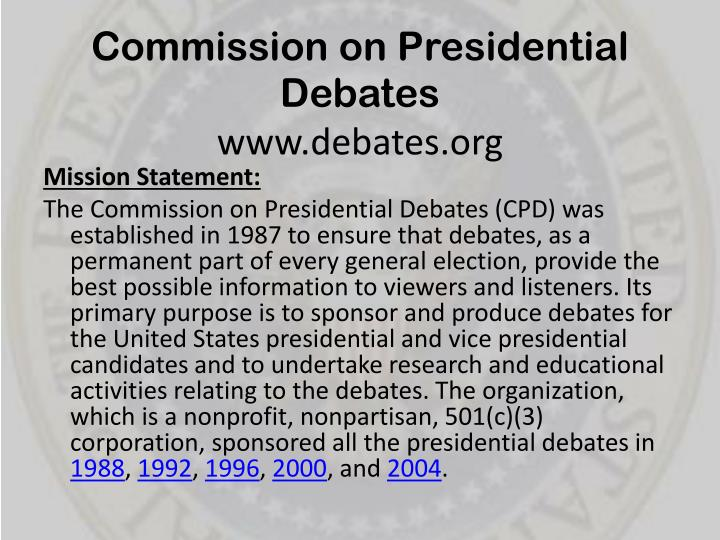 Commission on presidential debates www debates org